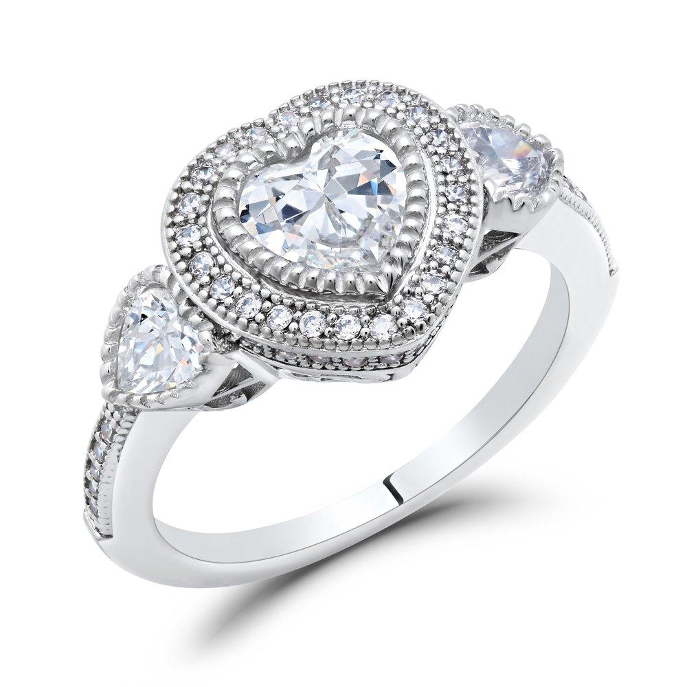 Heart Signaty Diamond Micro Pave Ladies Ring Miligrain