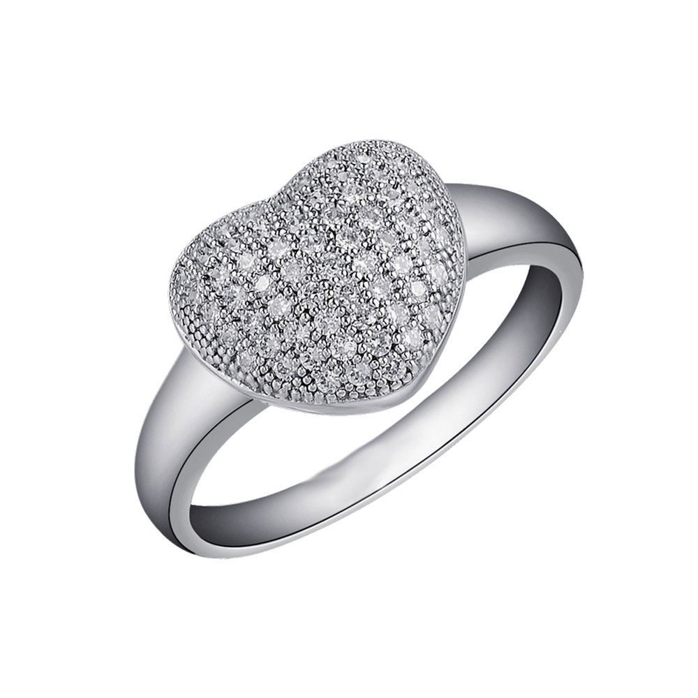 Heart Shape Signaty Diamond Ring .925 Sterling Silver
