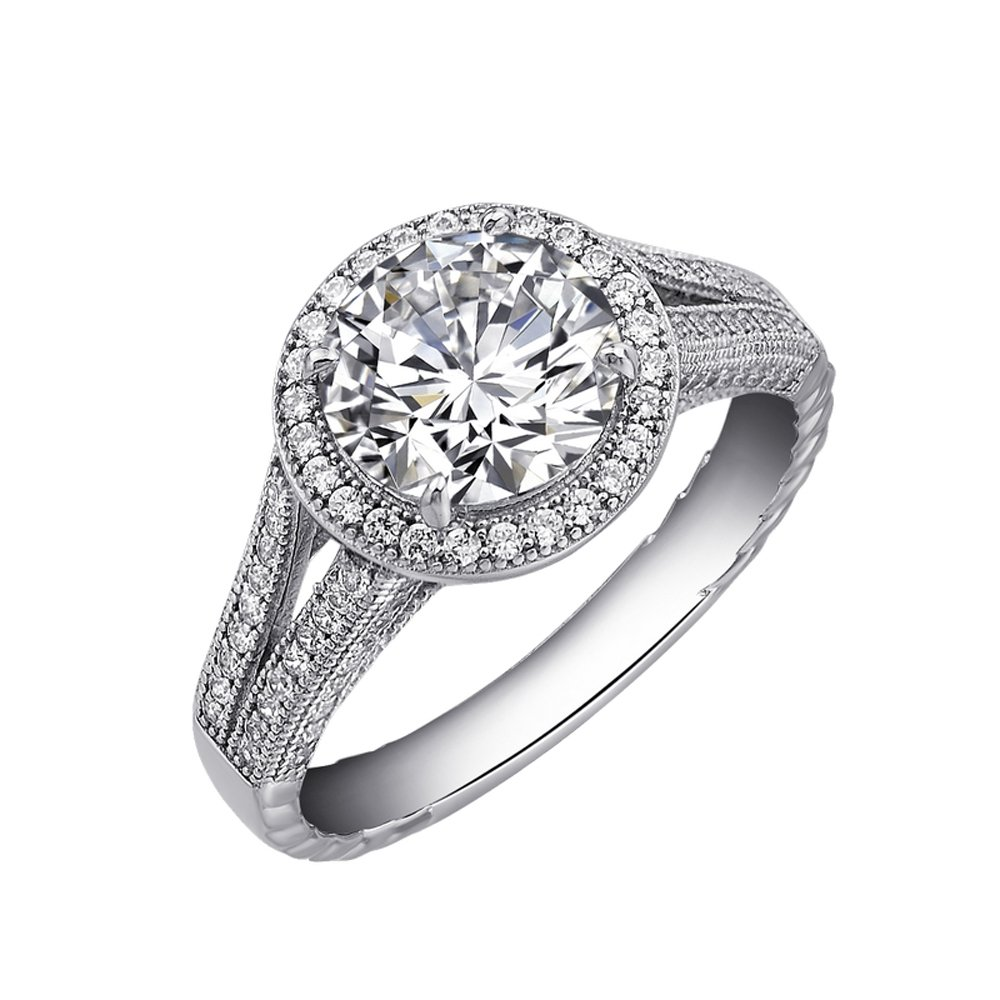 Ladies Engagement Ring .925 Sterling Silver Signaty Diamonds Micro Pave