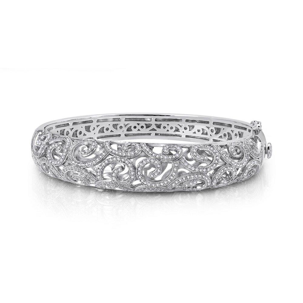 Filigree  Micro Pave Signaty Diamond Ladies Bangle .925 Sterling Silver and Platinum Bonded
