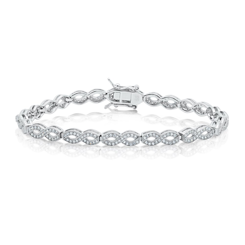 Ladies Classic Infinity Signaty Diamonds .925 Bracelet Solid Sterling Silver Micro Pave