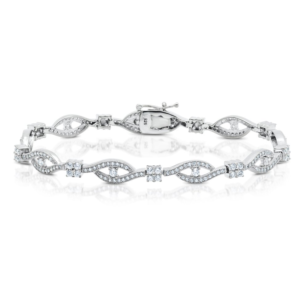 Eye Bracelet Micro Pave Signaty Diamond Solid Sterling Silver Bonded with Platinum .925 Micro Pave