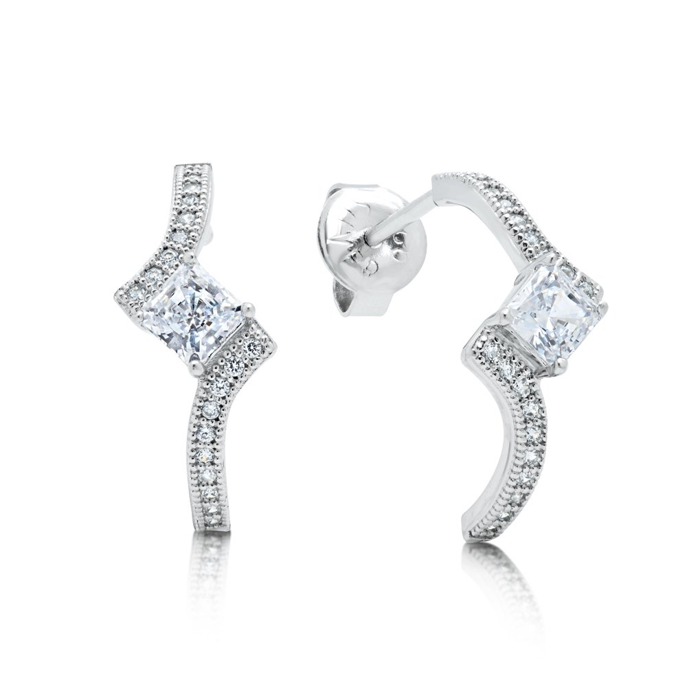 Princess Cut Earring Signaty Simulated Diamond Created by Swarovski and Solid Sterling Silver