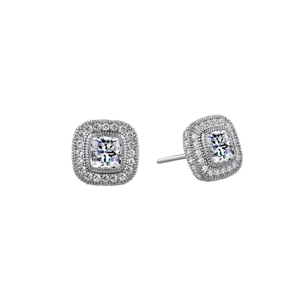 Cushion Cut Signaty Center Stone Stud Earrings on Solid Sterling Silver .925 Bonded with Platinum