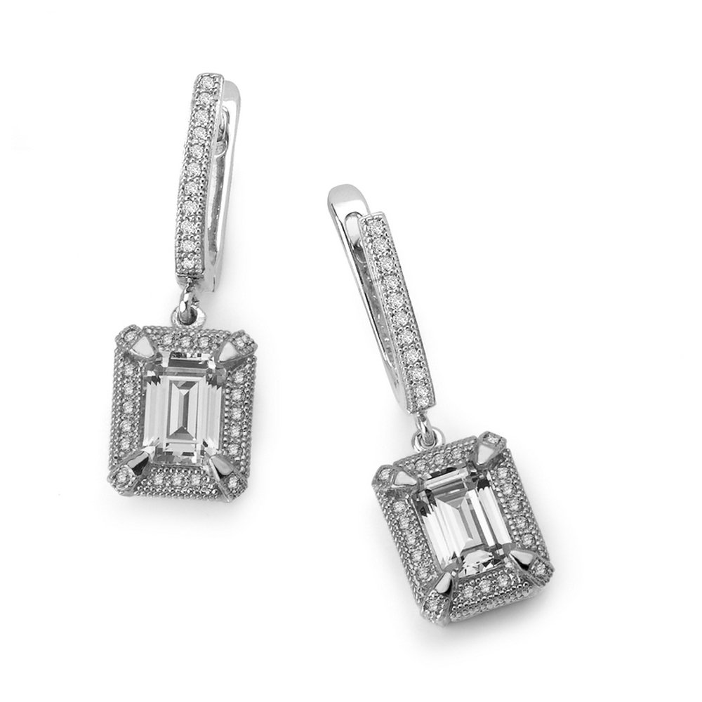 Pear Drop Earring on Solid Sterling Silver .925 with Signaty Simulated Diamond bonded with Platinum