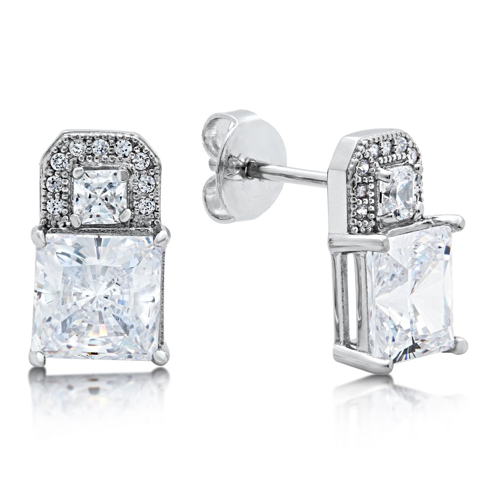 Princess Cut Signaty Simulated Diamond Earring Push Back on Solid Sterling Silver with Platinum