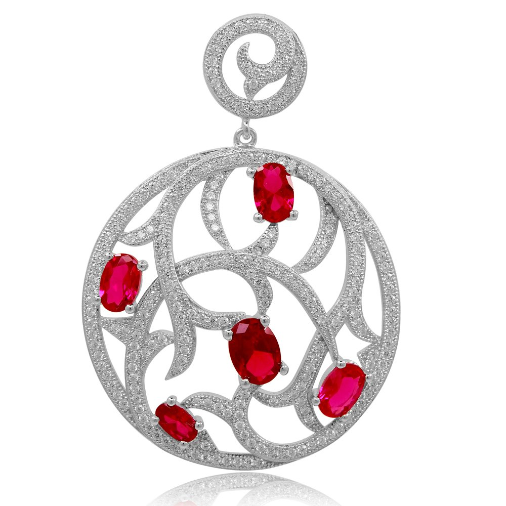 Round Pendant Red Ruby Corundum Stone and Signaty Simulated Diamonds on Solid Sterling Silver .925