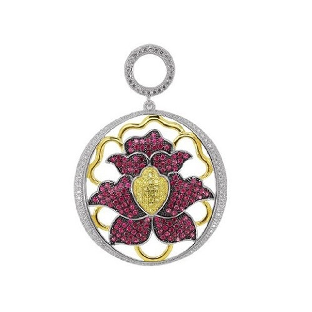 Ruby Red & Canary Yellow Signaty Simulated Diamonds Round Floral Design Pendant on Sterling Silver