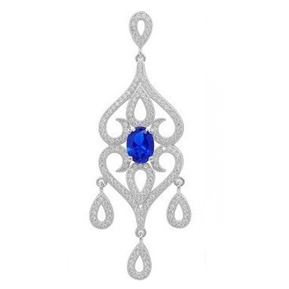 Blue Sapphire Corundum based stone Fancy Design Pendant on Sterling Silver .925