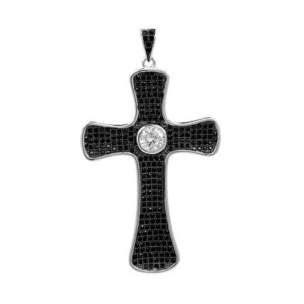B&W Cross Pendant Micro Pave Signaty Simulated Diamonds on .925 Sterling Silver