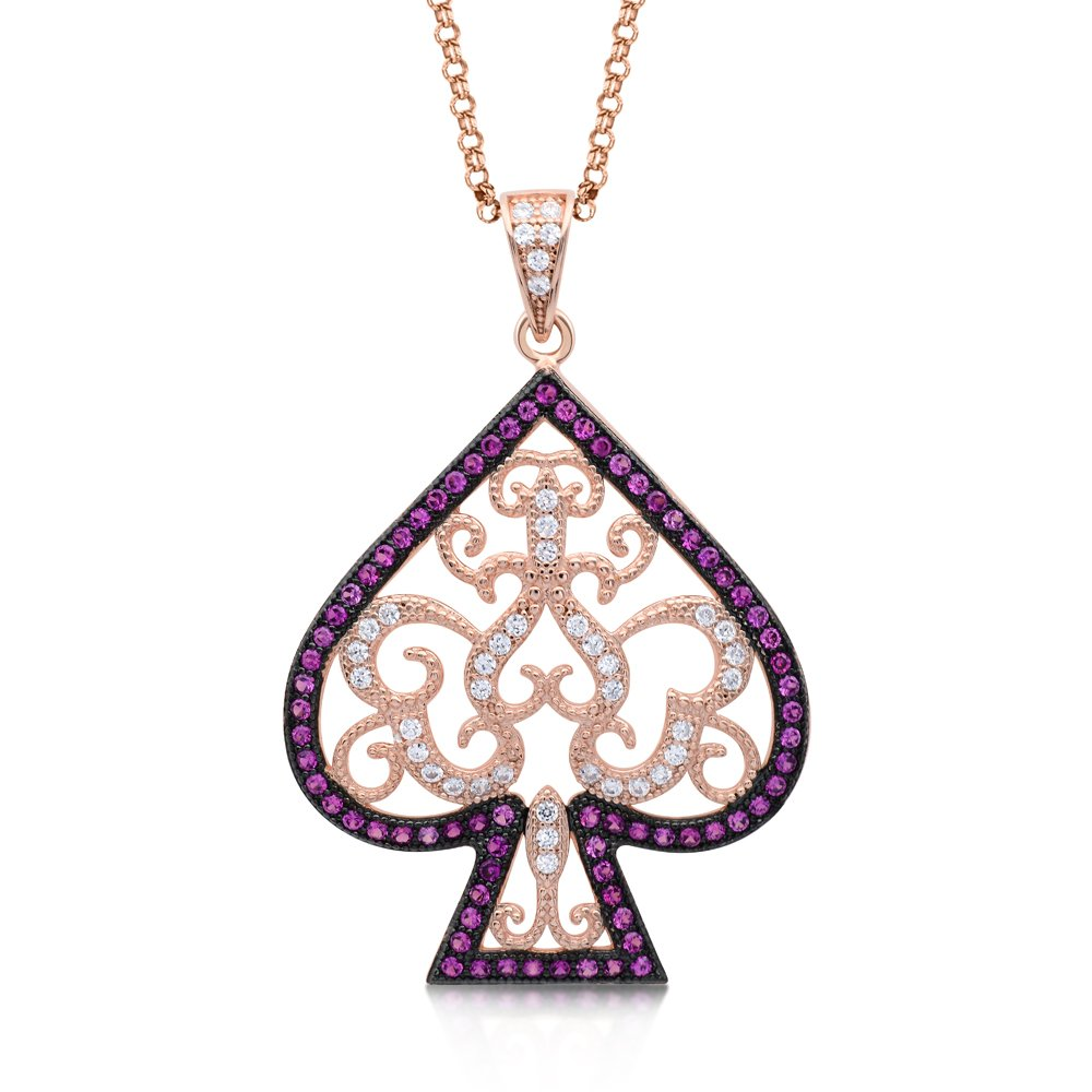 Spade Design Pendant with 18k Rose Gold Plate on Solid Sterling Silver with Signaty Diamonds
