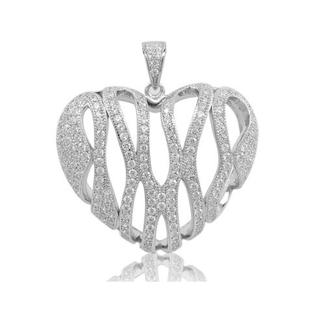 .925 Heart Sterling Silver Pendant with Signaty Simulated Diamonds Micro Pave