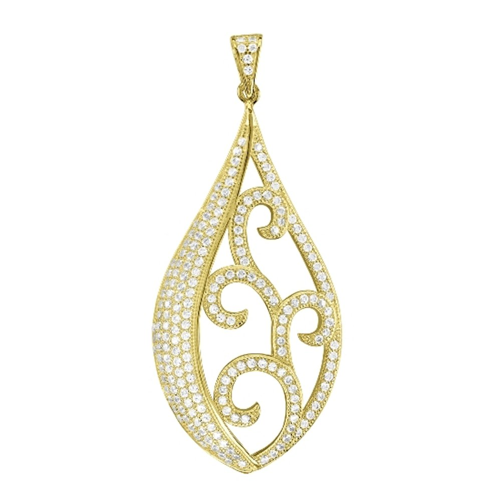 18k Gold Plate Fancy Design Pendant on .925 Sterling Silver with Signaty Simulated Diamonds