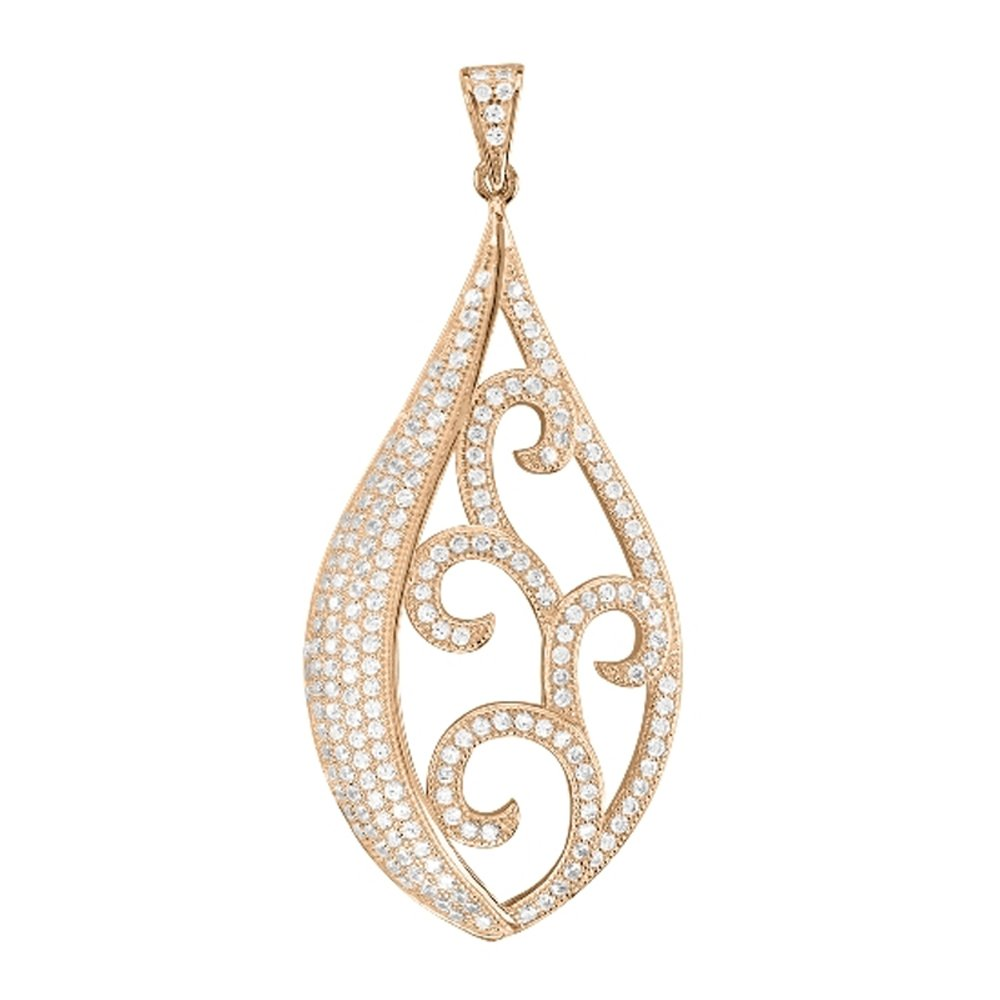 18k Rose Gold Plate Fancy Design Pendant on .925 Sterling Silver with Signaty Simulated Diamonds