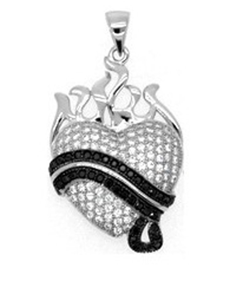 Heart Pendant with Black stones and Signaty Simulated Diamonds on .925 Sterling Silver
