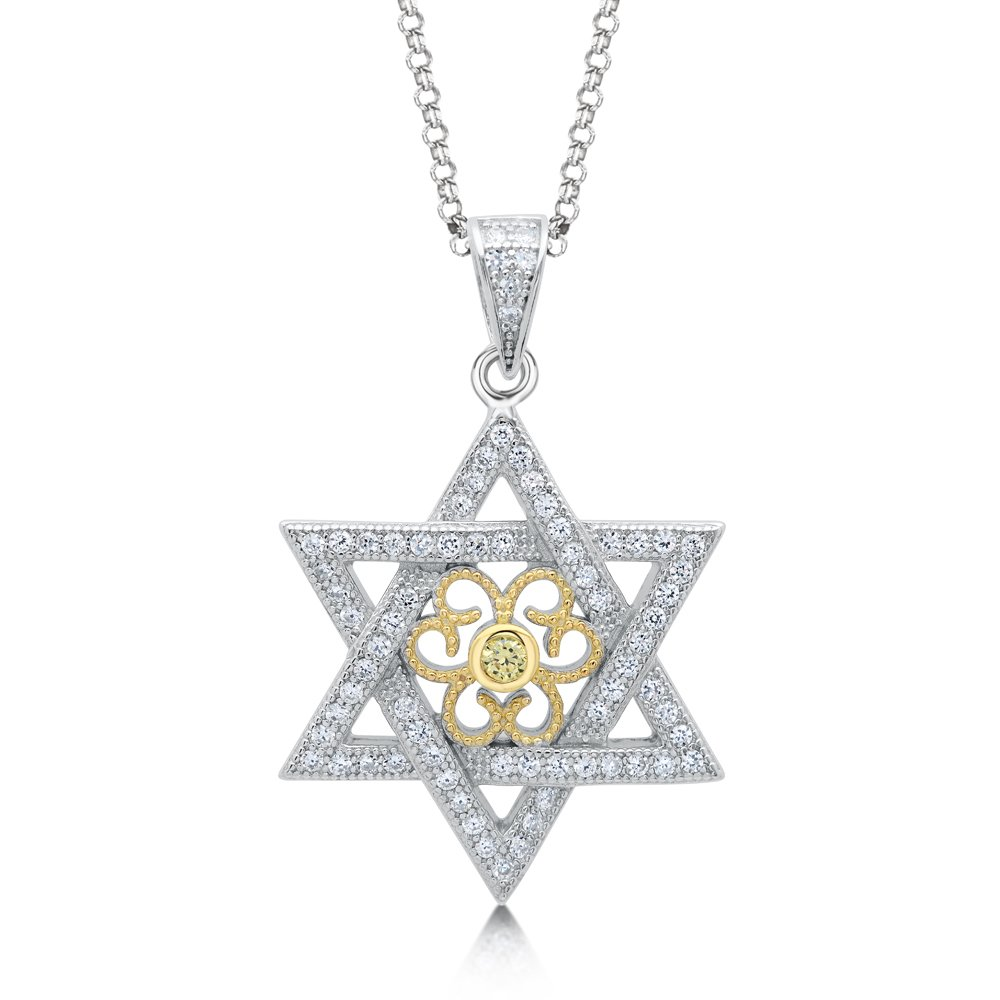 Star Pendant Necklace with 18K Gold Plate on Solid Sterling Silver with Signaty Simulated Diamonds