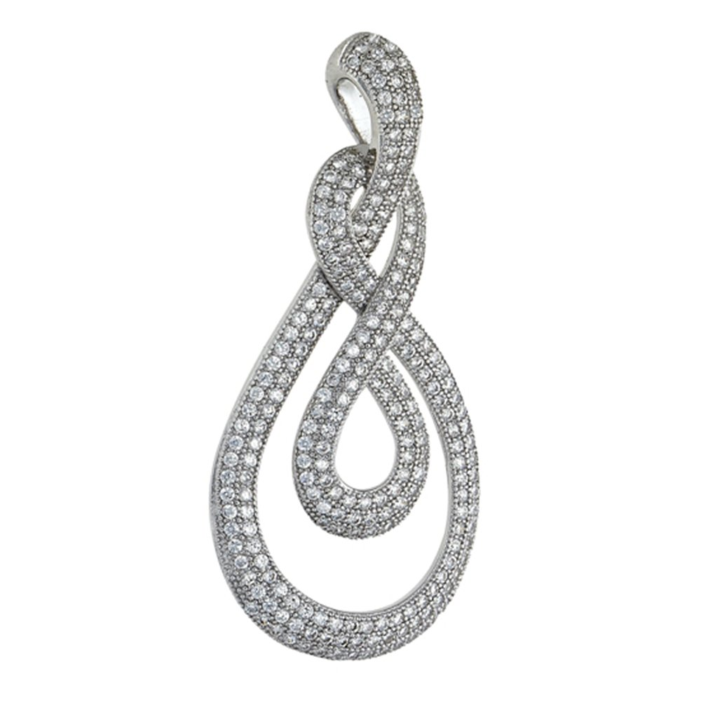 Infinity Wrap Design Pendant with Signaty Simulated Diamonds on Sterling Silver