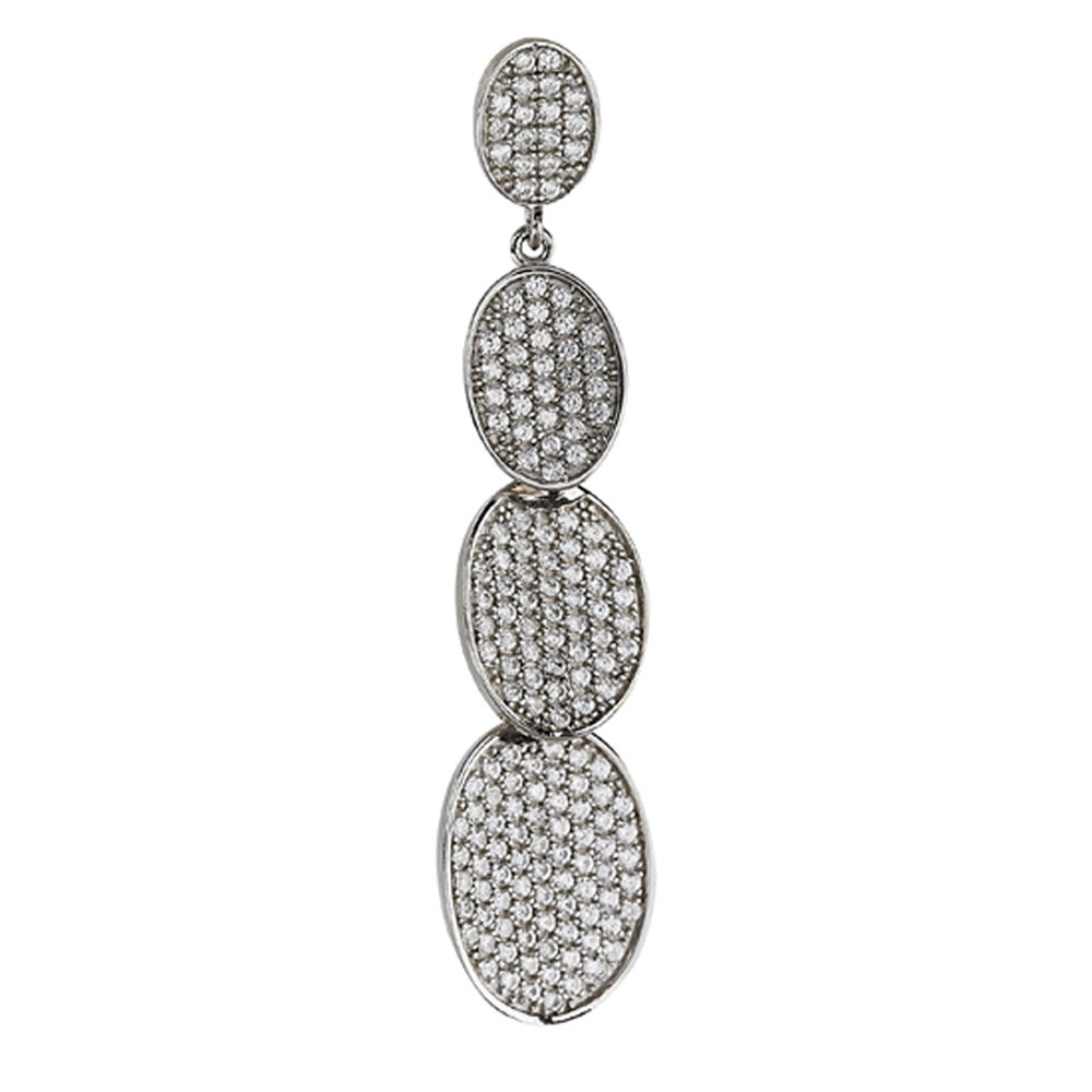 Sterling Silver .925 Multi Oval Link Pendant with Signaty Simulated Diamonds