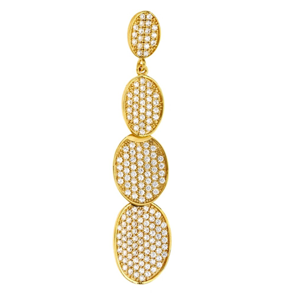 18k Gold Plate Sterling Silver .925 Multi Oval Link Pendant with Signaty Simulated Diamonds
