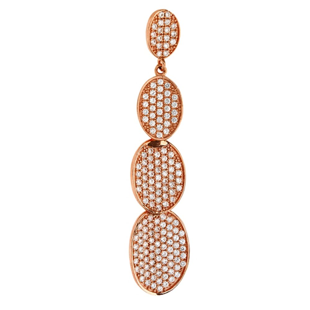 Rose Gold Plate Sterling Silver Multi Oval Link Pendant with Signaty Simulated Diamonds