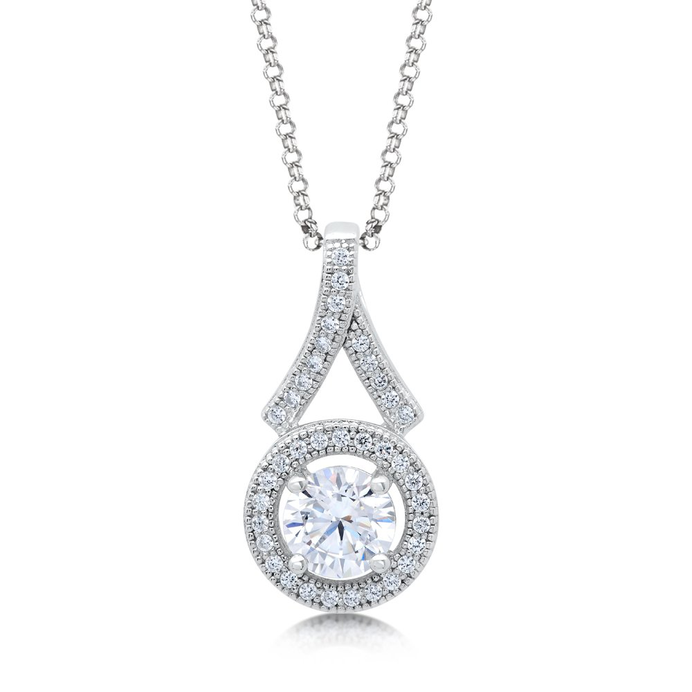 Round Center Signaty Diamond on .925 Sterling Silver