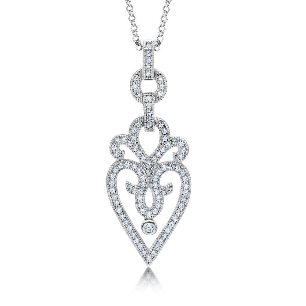 Heart Styled Pendant Micro Pave Signaty Diamonds on .925 Sterling Silver High Quality Diamond Finish