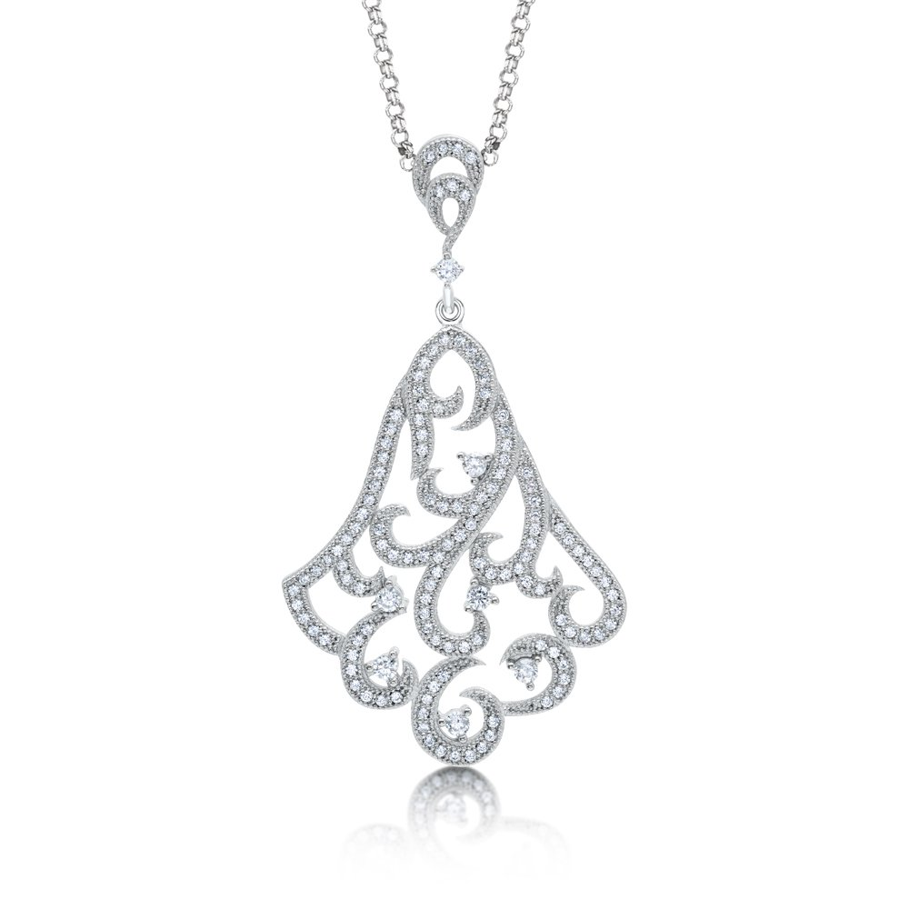 Drop Styled Pendant .925 Sterling Silver Micro Pave Signaty Diamonds High Quality Finish