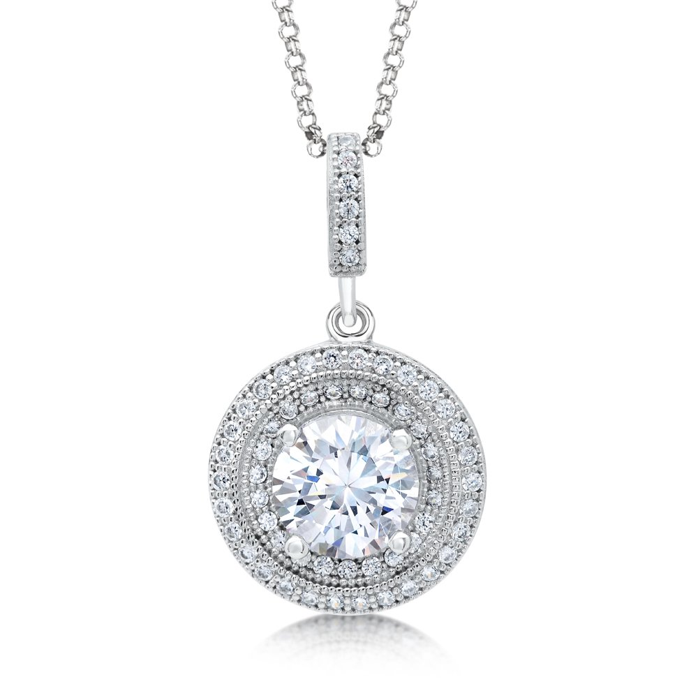 Large Round Center Micro Pave Signaty Diamond .925 Sterling Silver Pendant