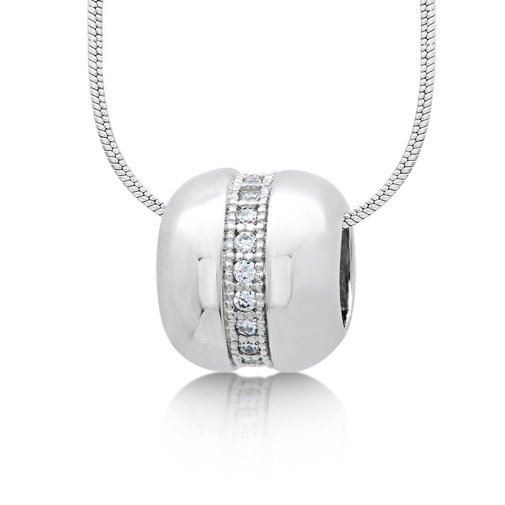Charm Pendant Micro Pave Signaty Diamonds .925 Sterling Silver