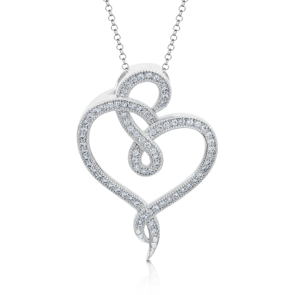 Intertwined Heart Pendant Micro Pave Signaty Diamonds on .925 Sterling Silver