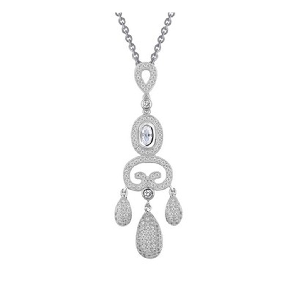 Drop Design Pendant Micro Pave Signaty Diamonds .925 Sterling Silver