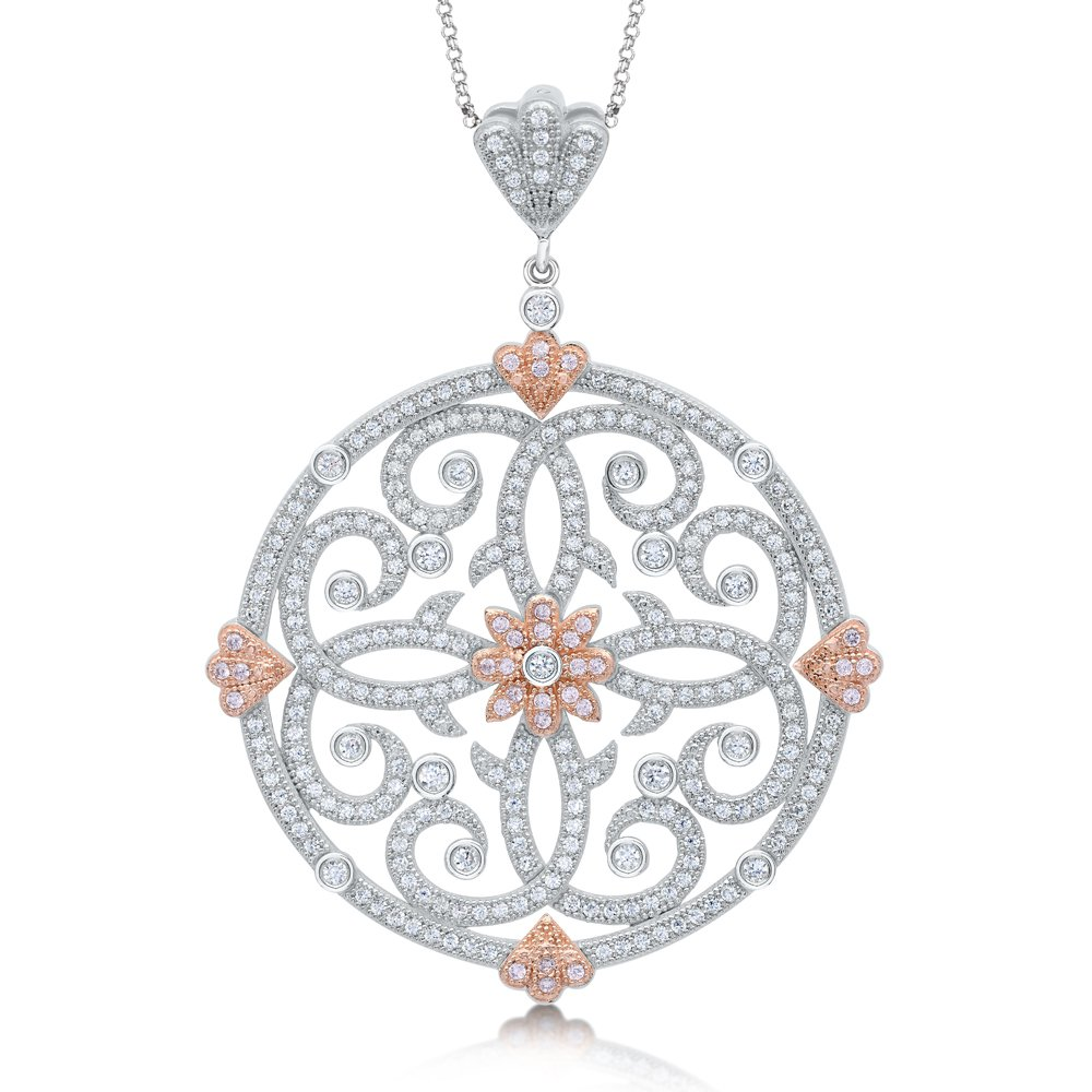Large Round Design Pendant with 18k Rose Gold Plate Accent Signaty Diamonds on .925 Sterling Silver