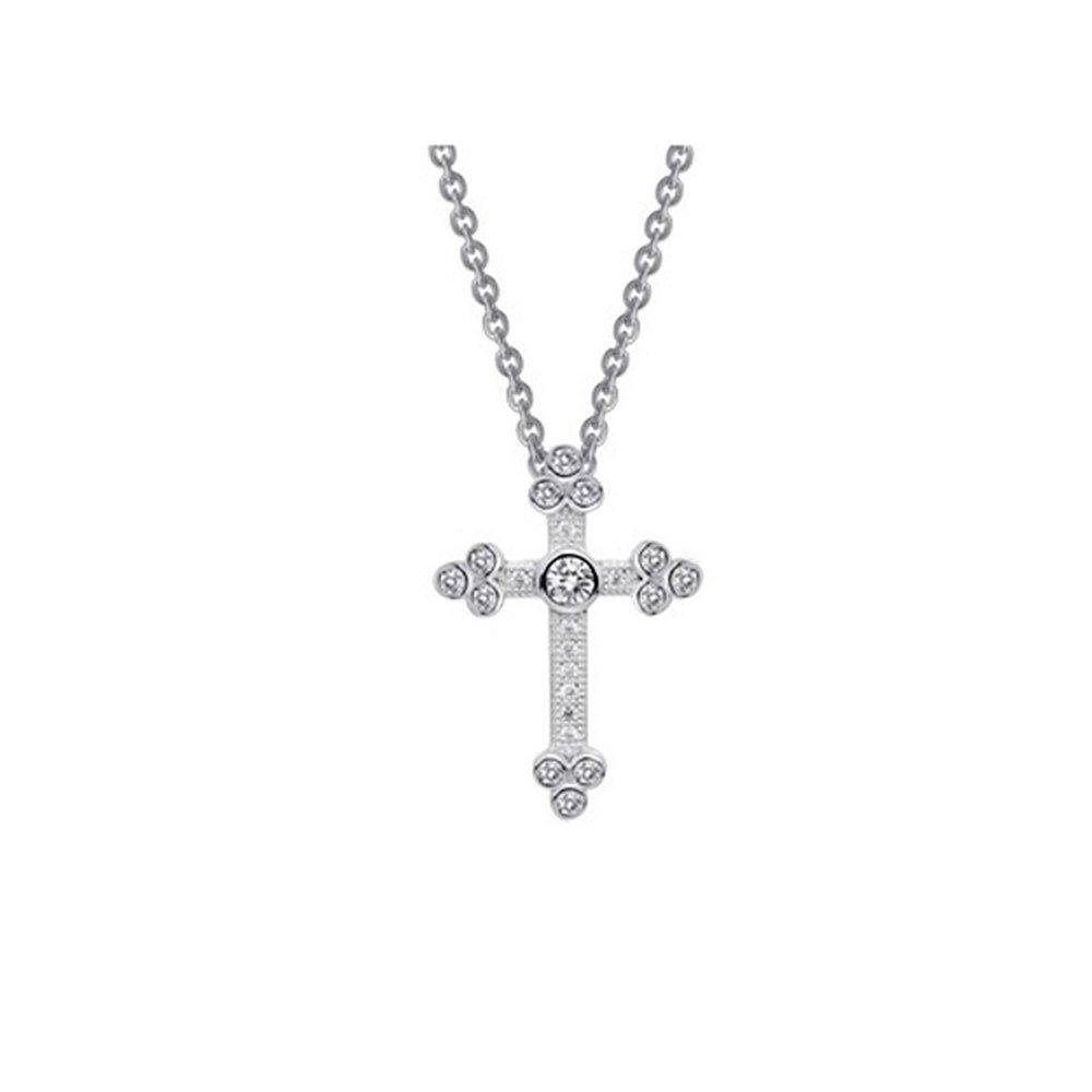 Small Micro Pave Cross .925 Sterling Silver Signaty Diamonds