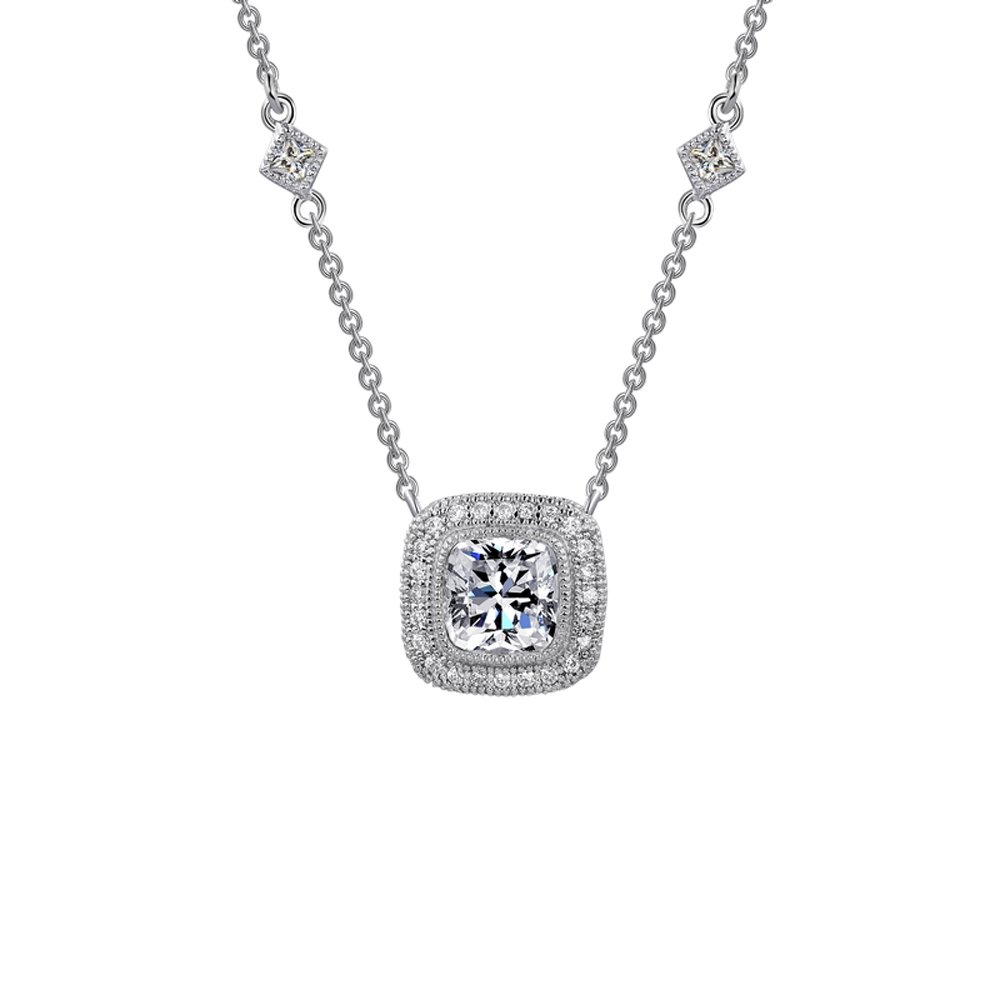 Cushion Cut Signaty Diamond Pendant Micro Pave .925 Sterling Silver