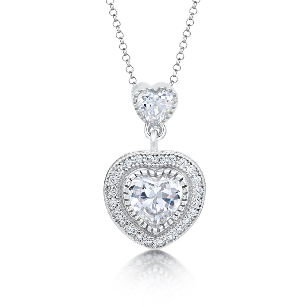 Heart Shape Signaty Diamond Pendant Micro Pave .925 Sterling Silver