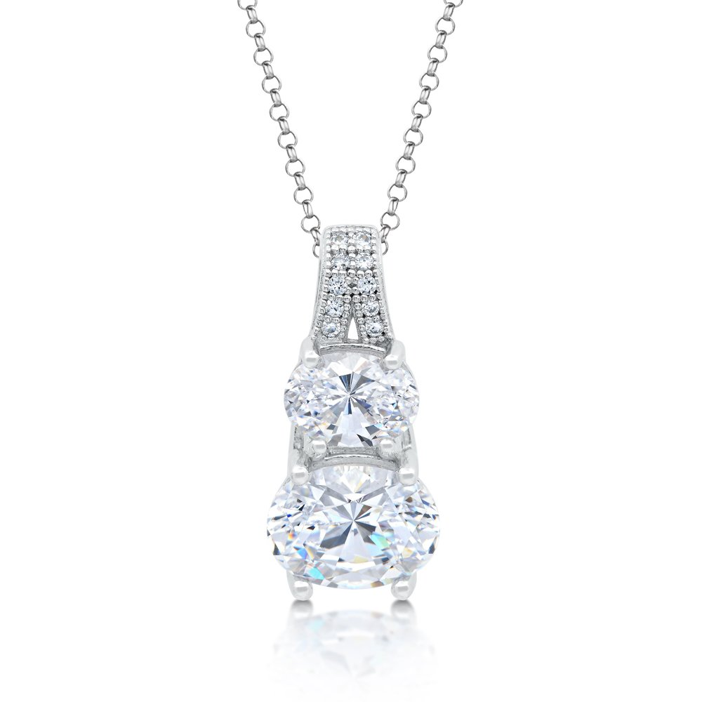 Double Round Signaty Diamond Pendant Micro Pave .925 Sterling Silver