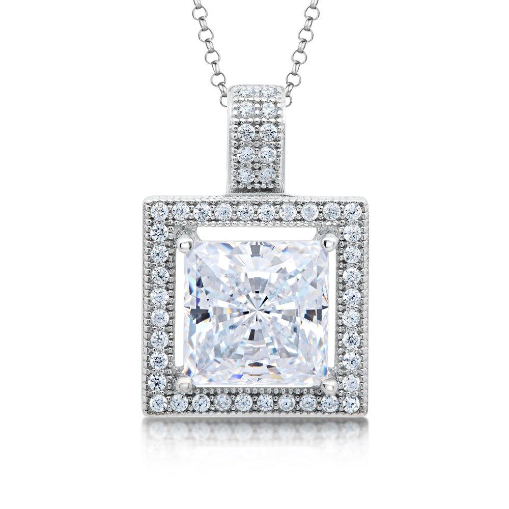 Princess Cut Signaty Diamond Pendant Micro Pave .925 Sterling Silver
