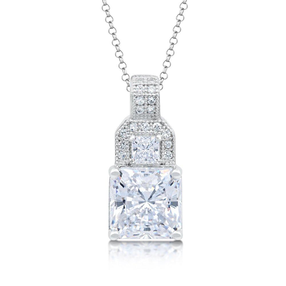 Micro Pave Princess Cut Signaty Diamond Pendant .925 Sterling Silver