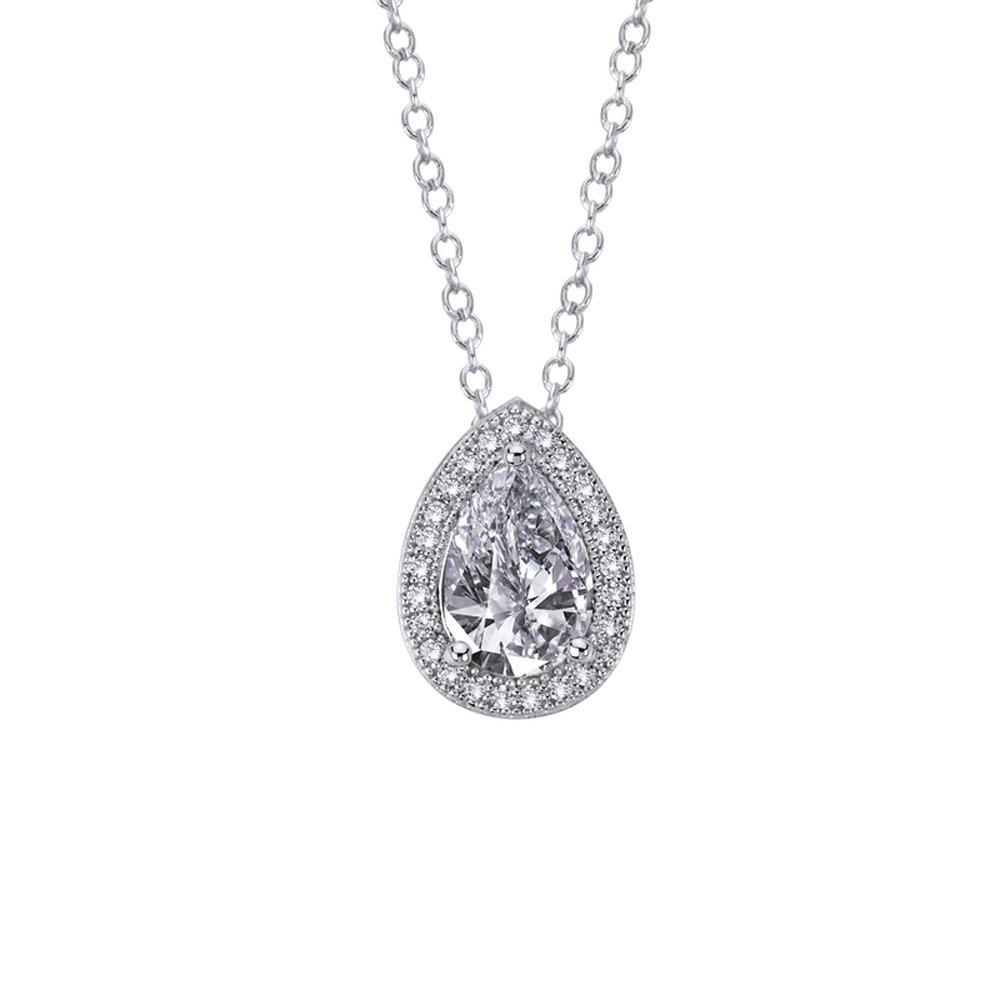 Pear & Round Signaty Diamond Drop Pendant Micro Pave .925 Sterling Silver .925