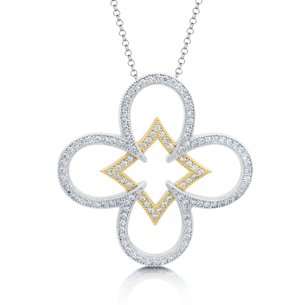 Cross Inspired Pendant with Signaty Diamonds and 18k Gold Plate on .925 Sterling Silver