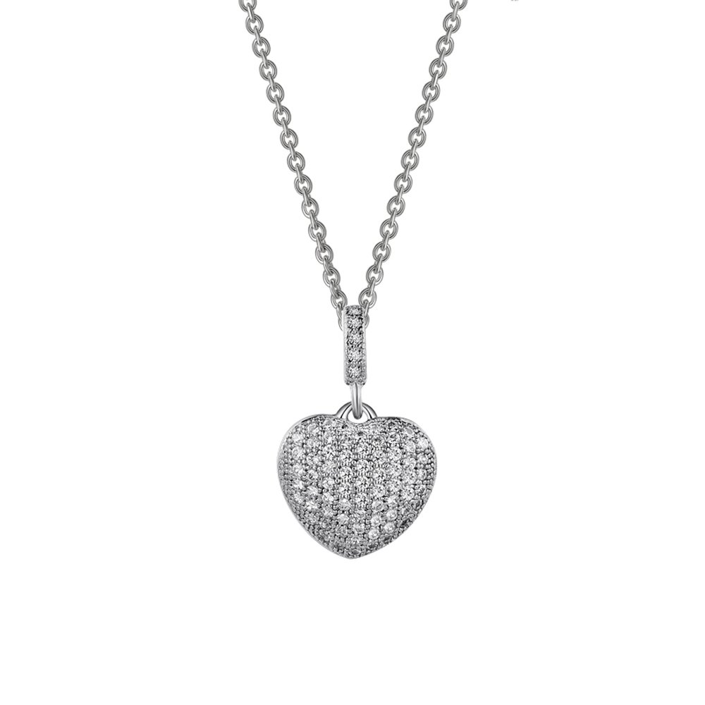 Heart Signaty Diamonds Pendant .925 Sterling Silver
