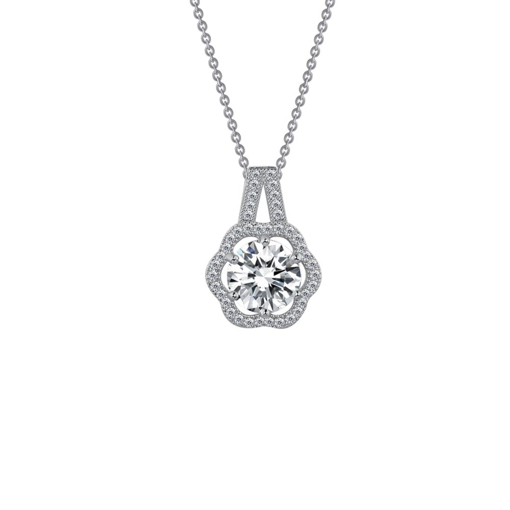 Round Flower Design Micro Pave Pendant .925 Sterling Silver