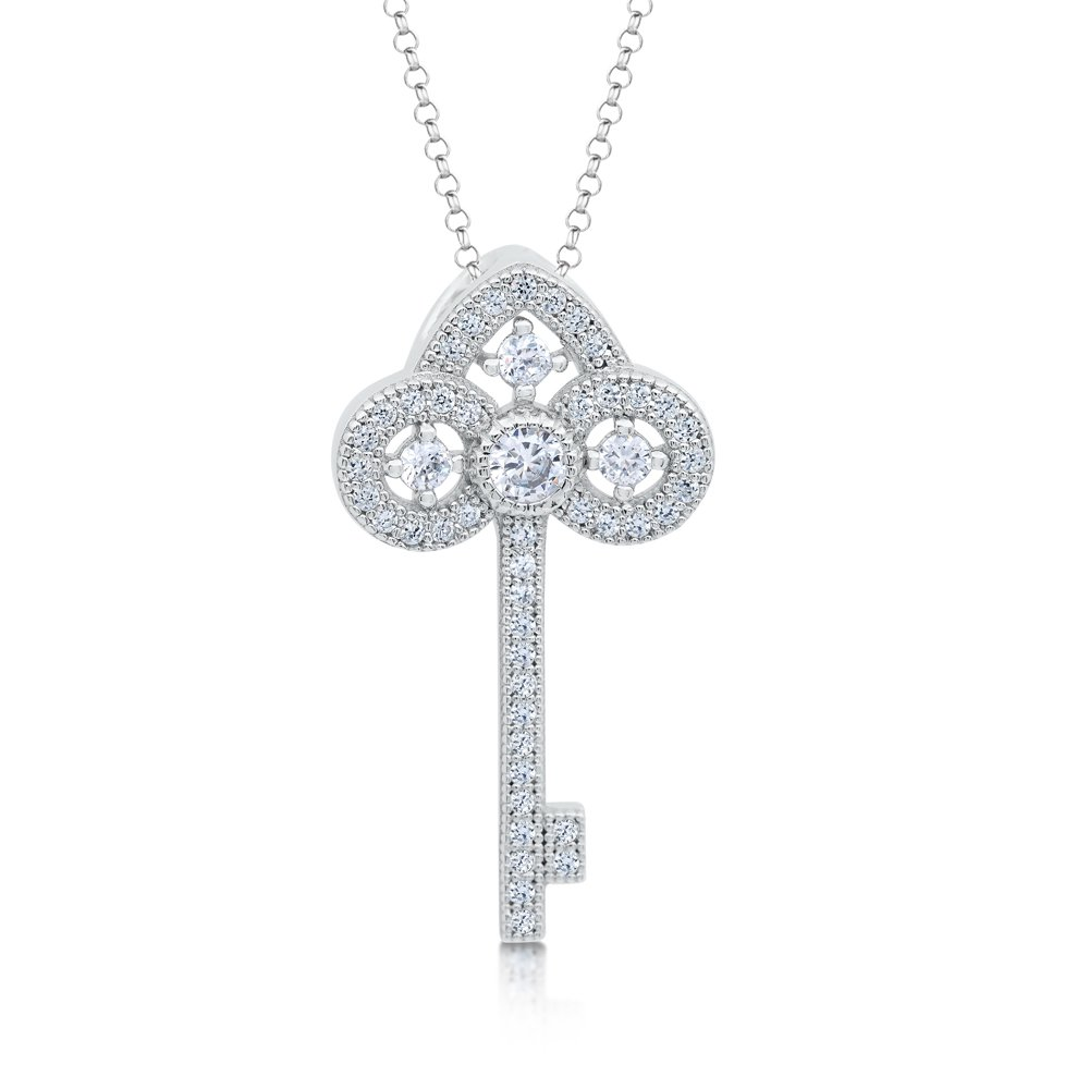 Key  Micro Pave Pendant .925 Sterling Silver with Signaty Diamonds