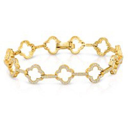 Designer Inspired Micro Pave 4 Leaf Clover Bracelet Signaty Diamonds 18K Gold Plated Sterling Silver