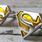 Superman Silver Plated Yellow and Silver Cufflinks FREE Gift Box