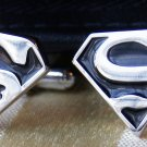 Superman Silver Plated Black and Silver Cufflinks FREE Gift Box