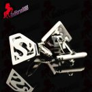 Superman Silver Plated Perforated Cufflinks FREE Gift Box – Wedding, Birthday Gift