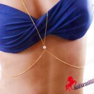 Gold Plated Single Pearl Body Chain Necklace Fashionable Bikini Body Jewelry  _ BC-10