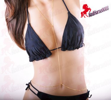 Gold Plated Single Waist Necklace Body Chain Body Jewelry _ BC-19