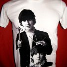 !! FREE SHIPPING!! THE BEATLES John Lennon&George Harrison men,women rock t shirt size L